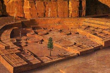 "This digital reconstruction of Pueblo Bonito during its peak occupation depicts the ""tree of life,"" which was long believed to have grown in the plaza."