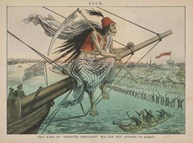 "The cholera pandemic in the 19th century incited fear of outsiders. This political cartoon is captioned, ""The kind of 'assisted emigrant' we can not afford to admit."" Cartoon by Friedrich Graetz, published in Puck, July 18, 1883."