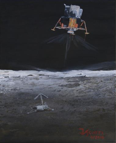 Space artist and SPACEWATCH astronomer Jim Scotti's interpretation of the Lunar Module Intrepid landing on the moon with Surveyor 3 in the foreground.