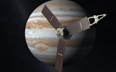 An artist's rendering of the Juno probe as it approaches Jupiter.