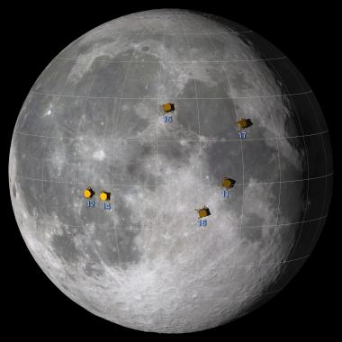 The Apollo landing sites.