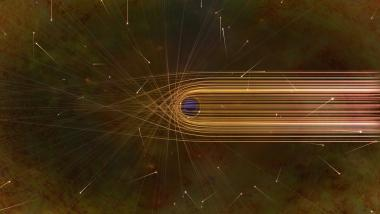 This artist's impression depicts the paths of photons in the vicinity of a black hole. The gravitational bending and capture of light by the event horizon is the cause of the shadow captured by the Event Horizon Telescope.