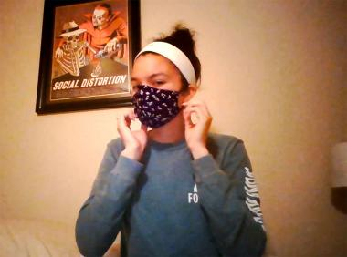 Jordyn Clarke in the College of Social and Behavioral Sciences made a cotton face mask with hair ties for straps.