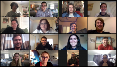 The Wildcat's editorial board in a Zoom call during one of the its last meetings of the spring semester.