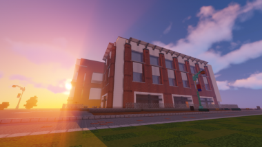 Other buildings in the Minecraft map include the Student Union Memorial Center, pictured here. The map is close to scale, with one block equal to one square-foot.