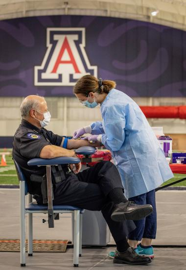UA Police Chief Brian Seastone has his blood drawn for antibody testing.