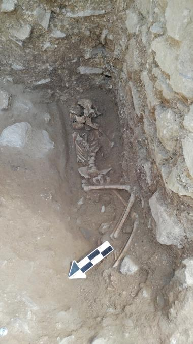 The 10-year-old was discovered lying on its side in a fifth-century Italian cemetery previously believed to be designated for babies, toddlers and unborn fetuses.